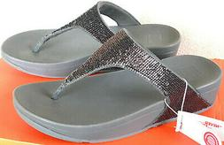 FitFlop Electra Micro T Post H20-054-050 Pewter Comfort Beac