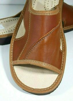 mens camel brown 100 percent leather slippers