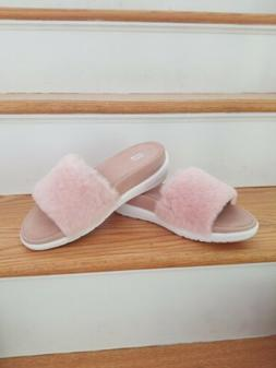 Fitflop NWB Loosh Luxe Dusky Pink Shearling Leather Slide US