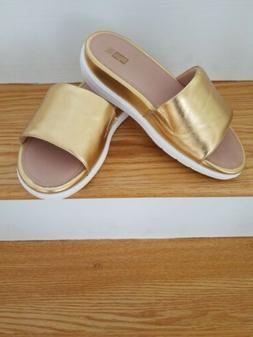 Fitflop NWB Loosh Luxe Gold Metallic Leather Slide US 9 $225