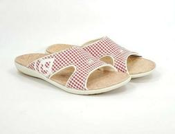 SPENCO Total Support Orthotic Slide Sandals Red Plaid Gingha